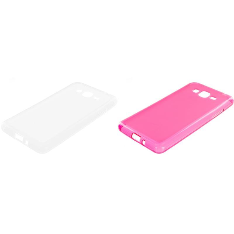 Samsung Galaxy Grand Prime LTE G530 2 in 1 Combo Bundle Pack - Clear Pink TPU Rubber Skin Case Cover