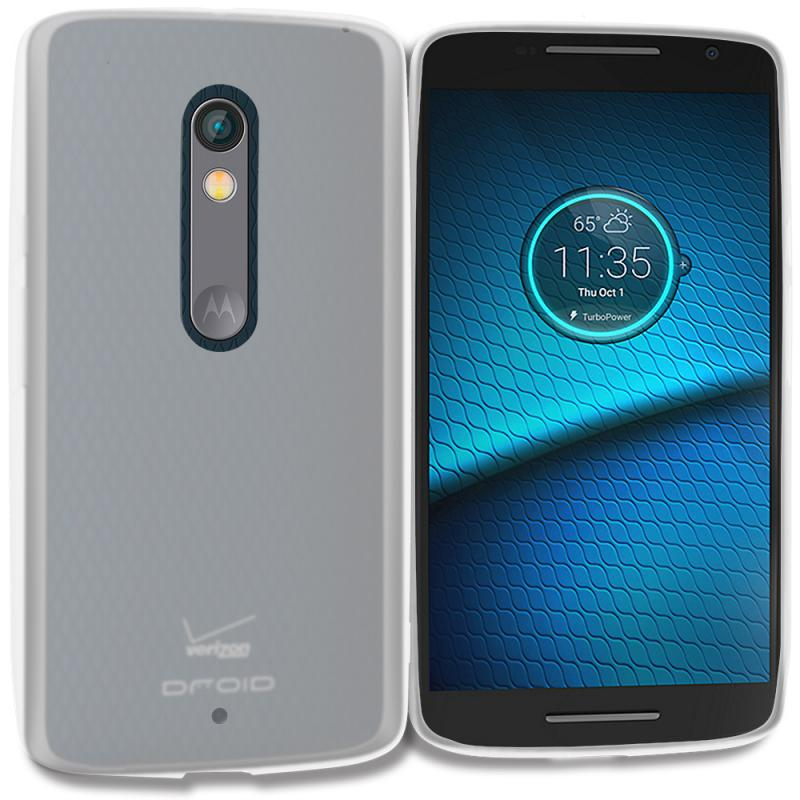 Motorola Droid Maxx 2 XT1565 Clear TPU Rubber Skin Case Cover