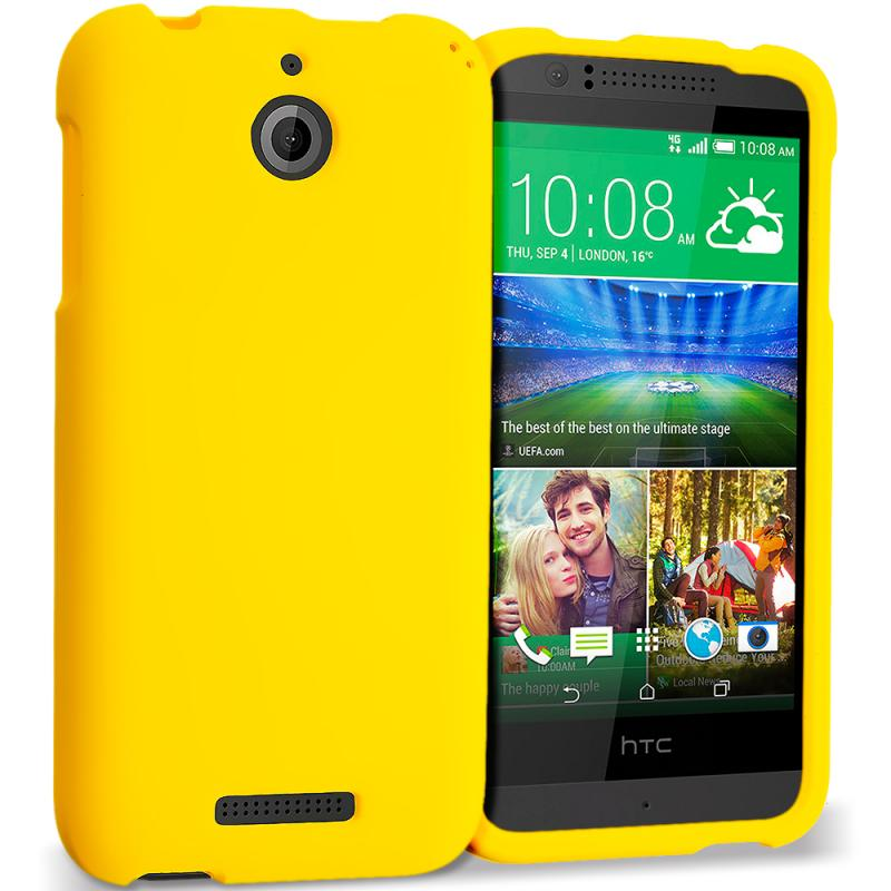HTC Desire 510 512 Yellow Hard Rubberized Case Cover
