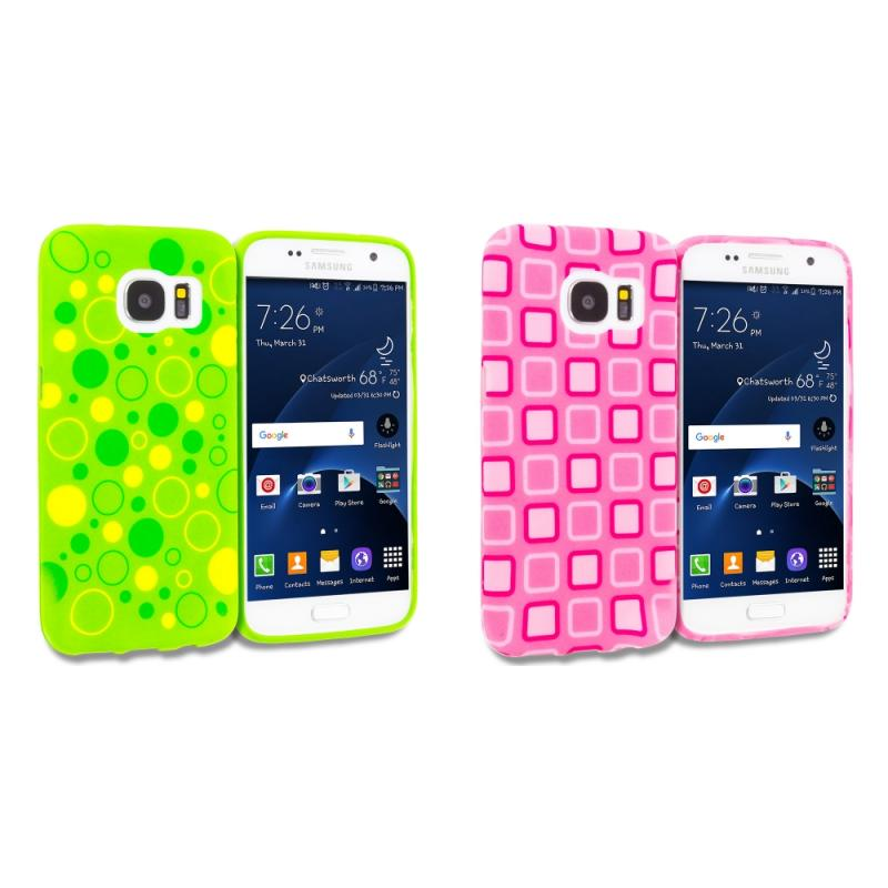 Samsung Galaxy S7 Combo Pack : Green Bubbles TPU Design Soft Rubber Case Cover