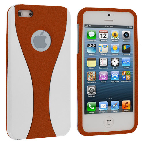 Apple iPhone 5/5S/SE White / Orange Hard Rubberized 3-Piece Case Cover