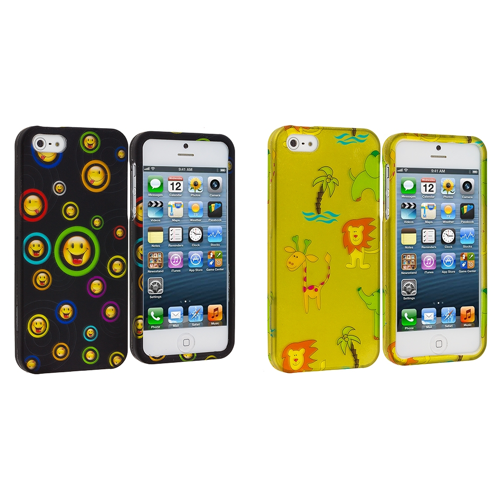 Apple iPhone 5/5S/SE Combo Pack : Cartoon Smile Hard Rubberized Design Case Cover