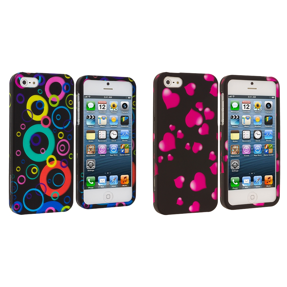 Apple iPhone 5/5S/SE Combo Pack : Colorful Bubbles Hard Rubberized Design Case Cover