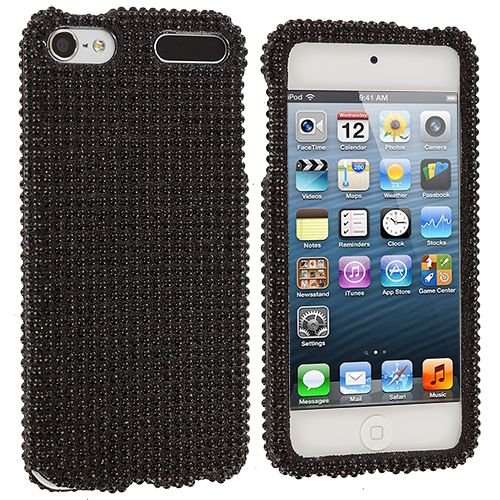Apple iPod Touch 5th 6th Generation Black Bling Rhinestone Case Cover