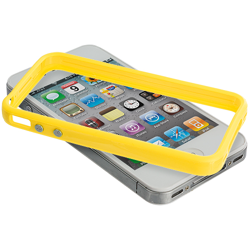 Apple iPhone 4 / 4S 2 in 1 Combo Bundle Pack - Solid Orange Yellow TPU Bumper with Metal Buttons : Color Solid Yellow