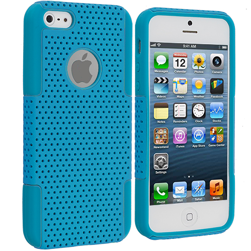 Apple iPhone 5/5S/SE Baby Blue / Baby Blue Hybrid Mesh Hard/Soft Case Cover