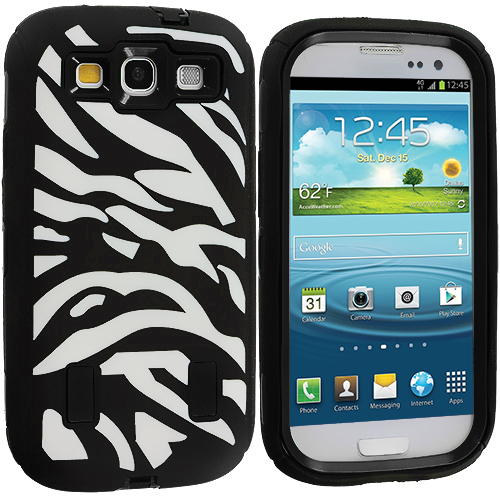Samsung Galaxy S3 2 in 1 Combo Bundle Pack - Black / Blue Zebra Hybrid Zebra 3-Piece Case Cover : Color Black / Black Zebra