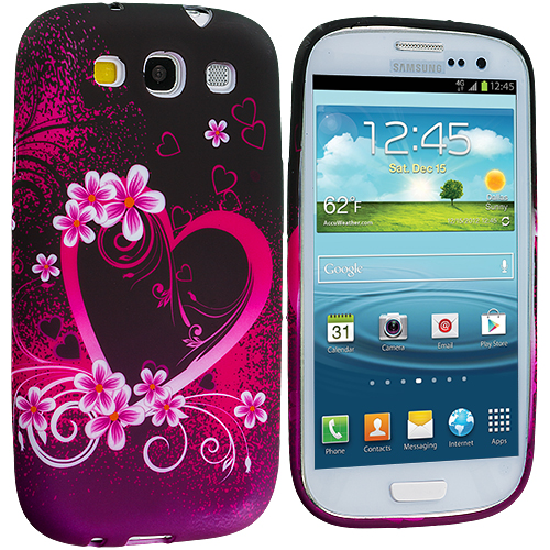 Samsung Galaxy S3 2 in 1 Combo Bundle Pack - Pink Heart White TPU Design Soft Case Cover : Color Purple Love