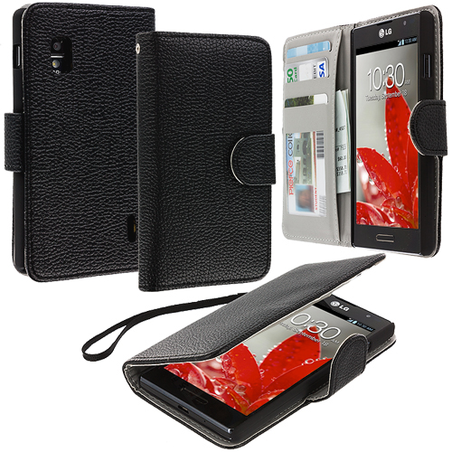 LG Optimus G E970 At&t Black Leather Wallet Pouch Case Cover with Slots