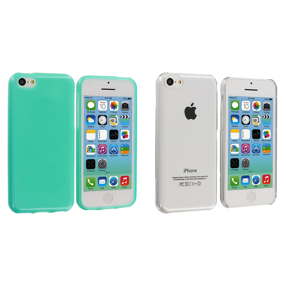 Apple iPhone 5C 2 in 1 Combo Bundle Pack - Clear Mint Transparent Crystal Hard Back Cover Case