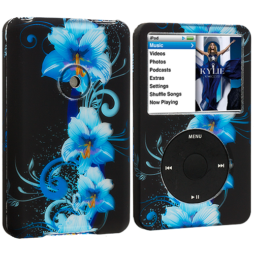 Apple iPod Classic Blue Flowers Hard Rubberized Design Case Cover