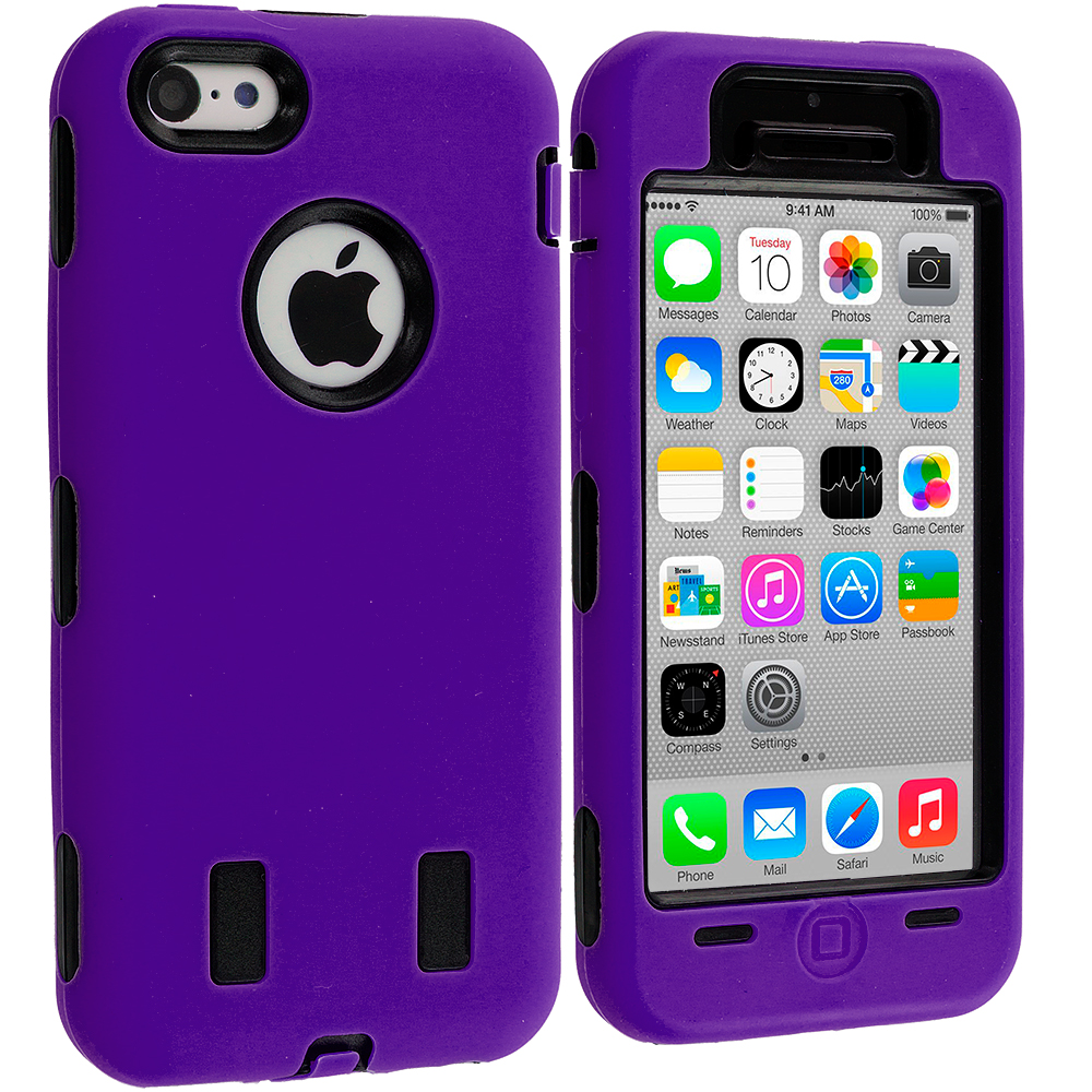 Apple iPhone 5C Purple / Black Hybrid Deluxe Hard/Soft Case Cover