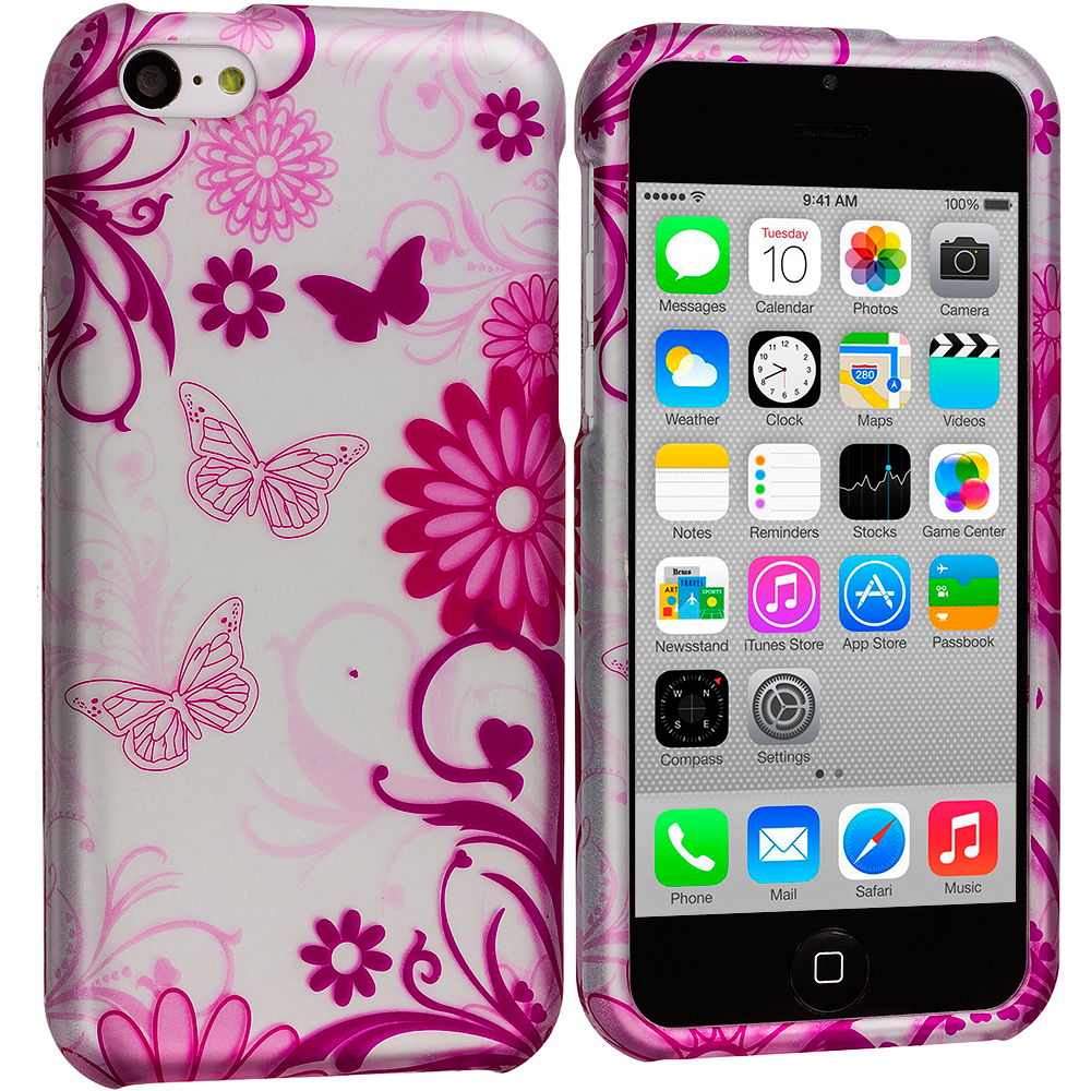 Apple iPhone 5C Pink Butterfly on Silver Hard Rubberized Design Case Cover