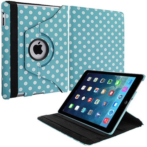 Apple iPad Air Baby Blue White Polka Dot 360 Rotating Leather Pouch Case Cover Stand
