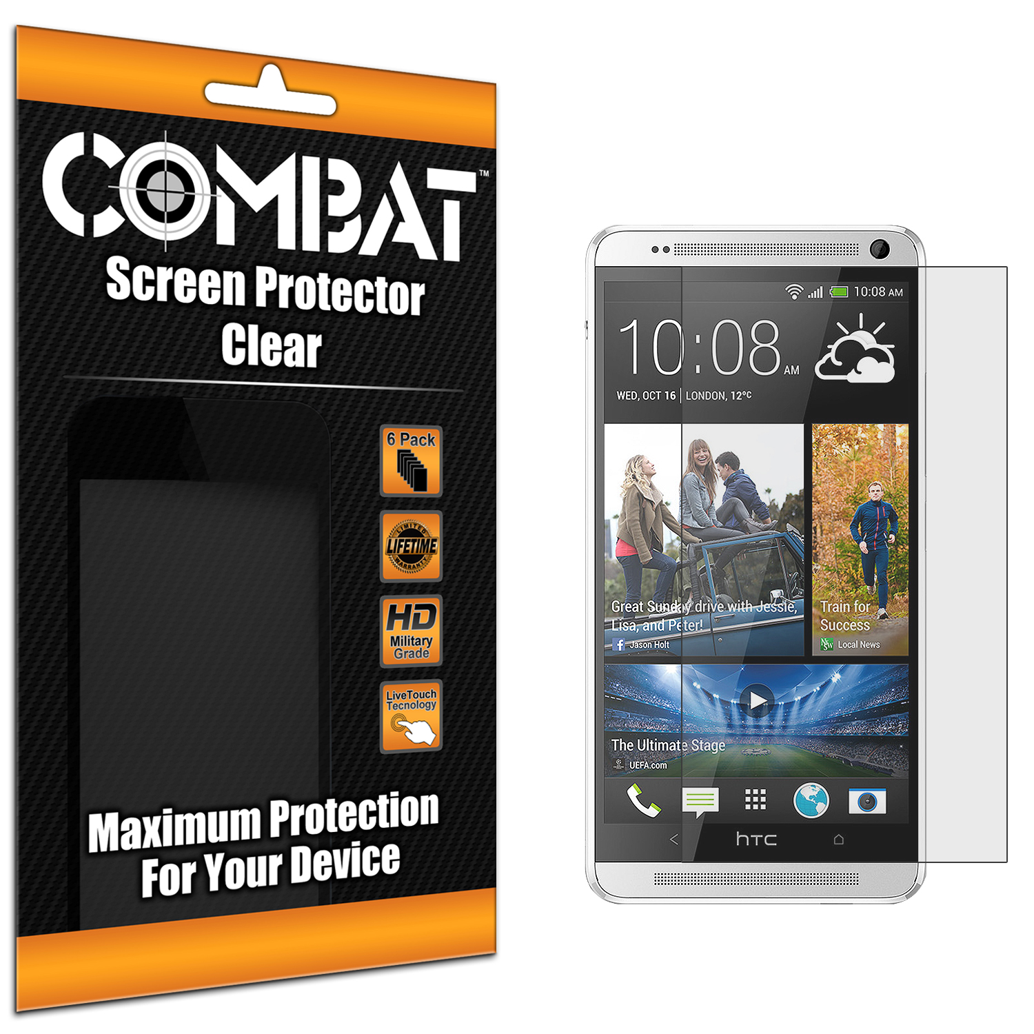 HTC One Max Combat 6 Pack Anti-Glare Matte Screen Protector