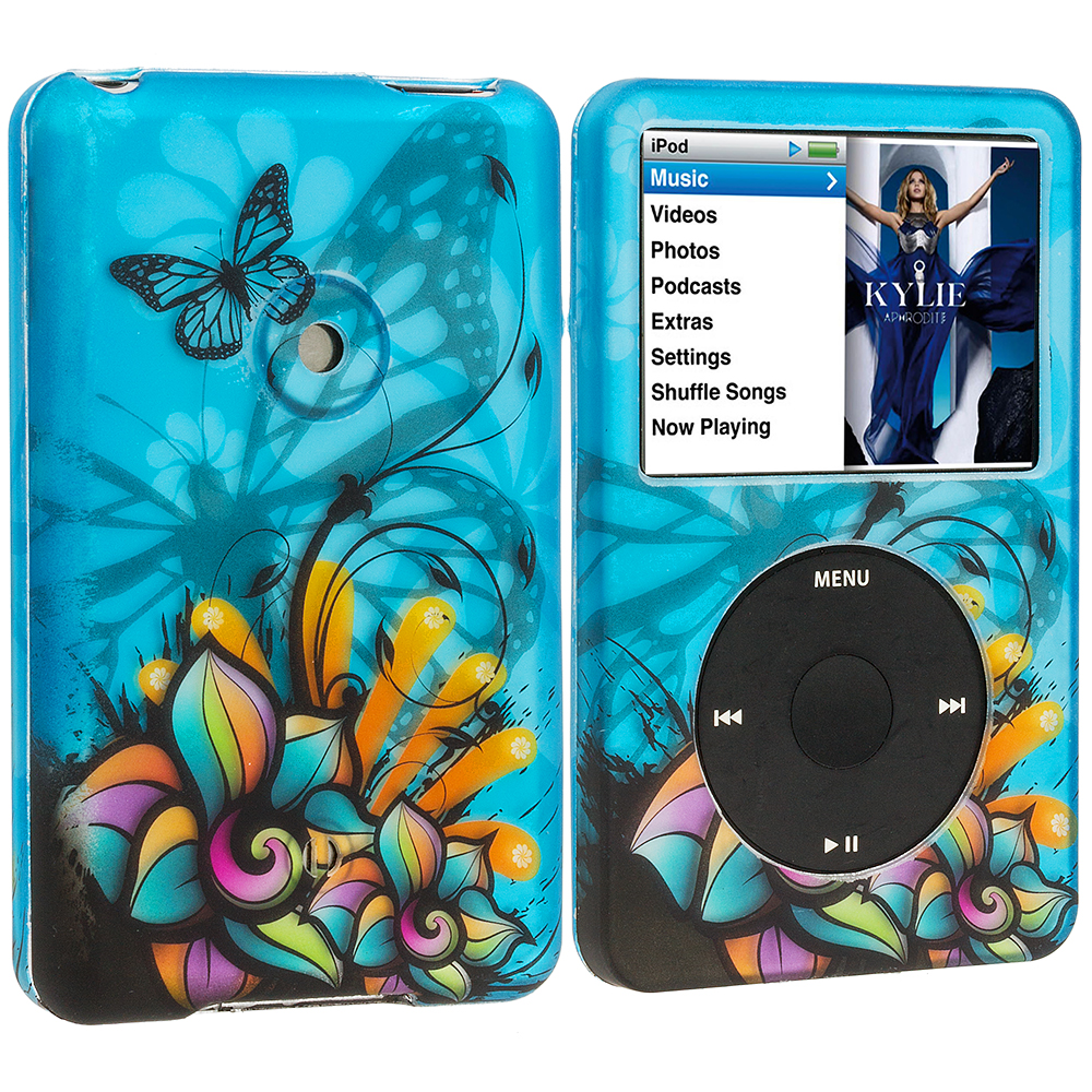 Apple iPod Classic Butterfly Flower on Blue Hard Rubberized Design Case Cover