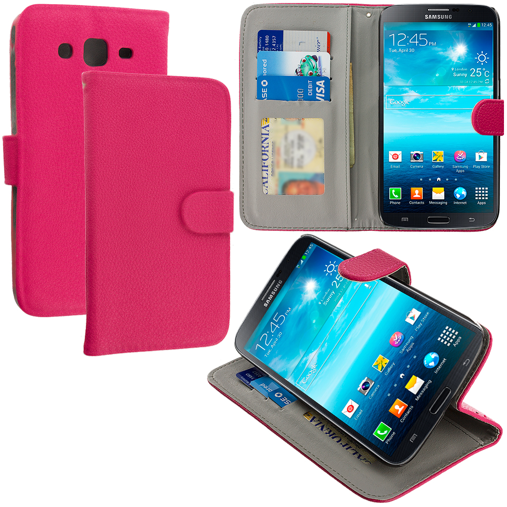 Samsung Galaxy Mega 5.8 Hot Pink Leather Wallet Pouch Case Cover with Slots