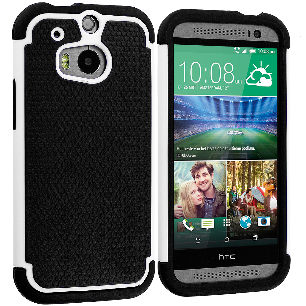 HTC One M8 Black / White Hybrid Rugged Hard/Soft Case Cover