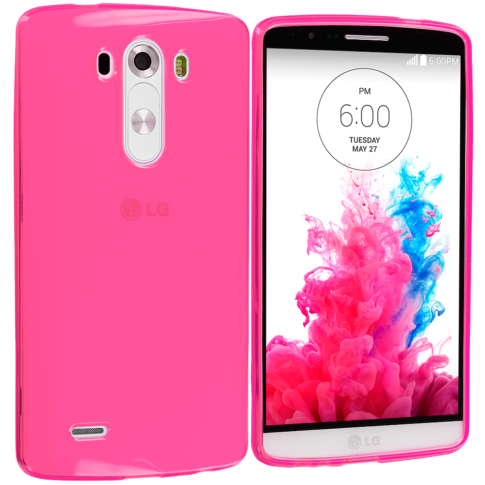 LG G3 Hot Pink TPU Rubber Skin Case Cover