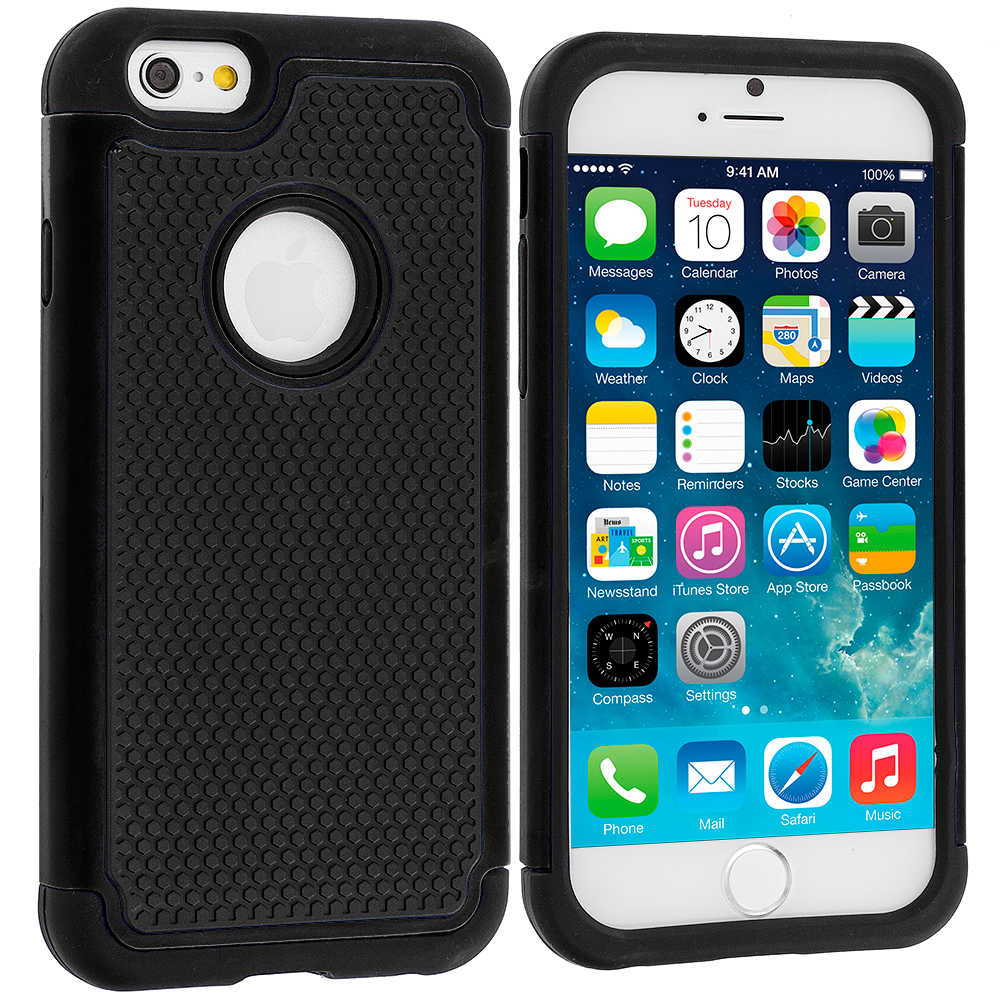 Apple iPhone 6 6S (4.7) Black / Black Hybrid Rugged Hard/Soft Case Cover
