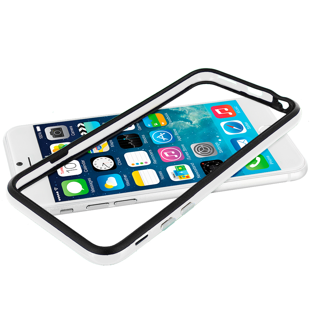 Apple iPhone 6 6S (4.7) Black / White TPU Bumper Frame with Metal Buttons