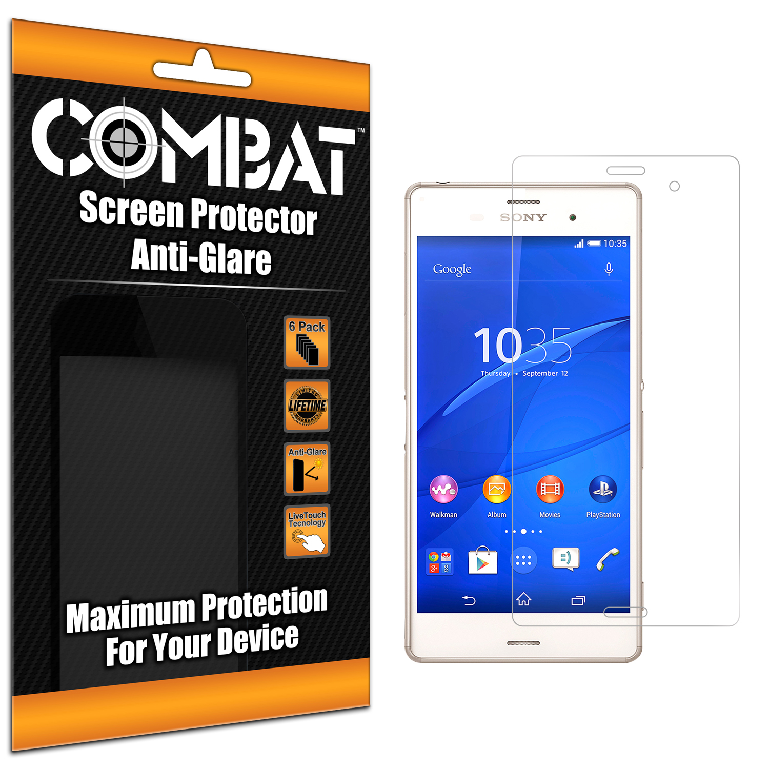 Sony Xperia Z3 Combat 6 Pack Anti-Glare Matte Screen Protector