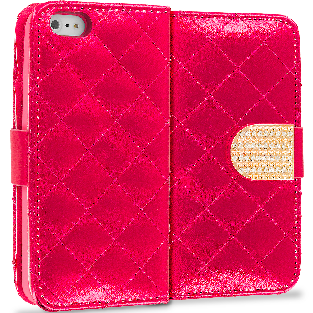 Apple iPhone 5/5S/SE Combo Pack : Hot Pink Luxury Wallet Diamond Design Case Cover With Slots : Color Red