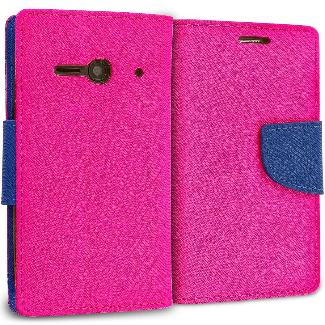 Alcatel One Touch Evolve 2 Hot Pink / Navy Blue Leather Flip Wallet Pouch TPU Case Cover with ID Card Slots