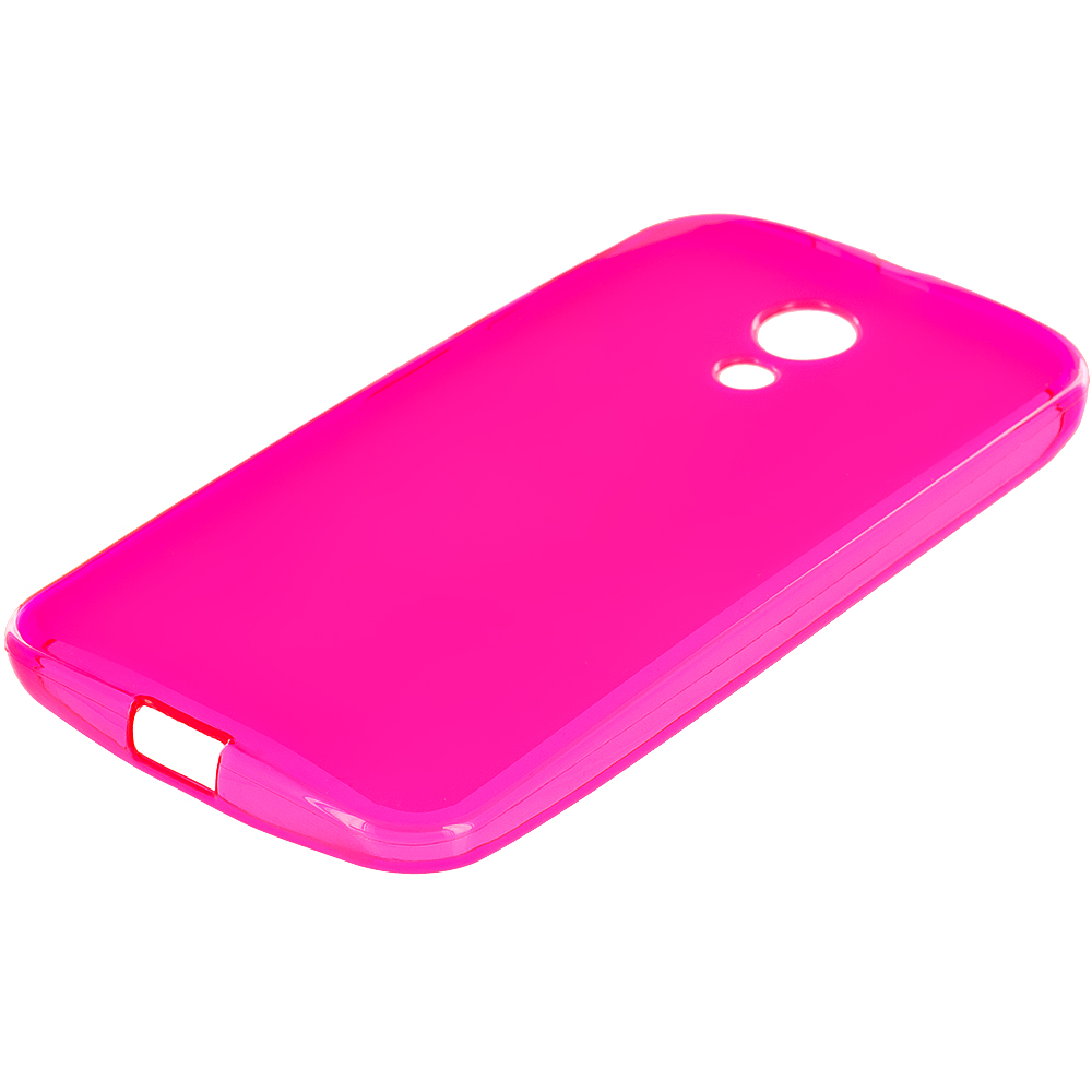 Motorola Moto G 2nd Gen 2014 Hot Pink TPU Rubber Skin Case Cover