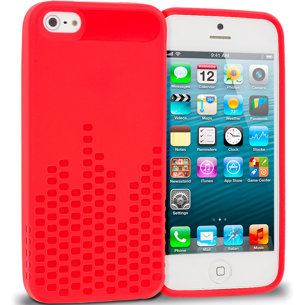 Apple iPhone 5/5S/SE Red TPU Design Soft Rubber Case Cover