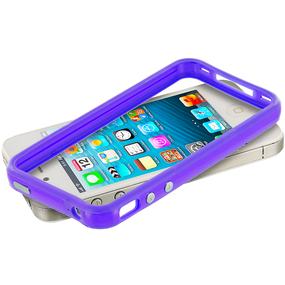 Apple iPhone 5/5S/SE Solid Blue TPU Bumper Frame with Metal Buttons