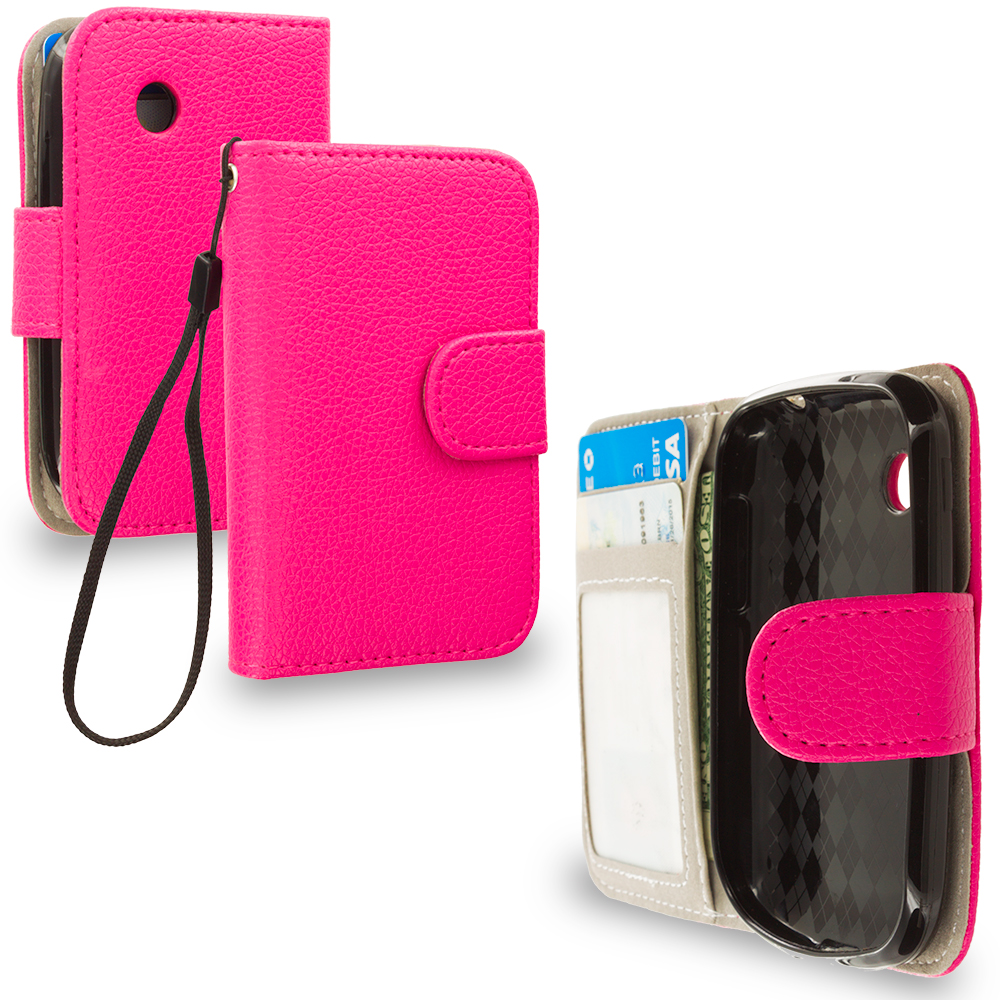 LG 306G / Aspire LN280 Hot Pink Leather Wallet Pouch Case Cover with Slots