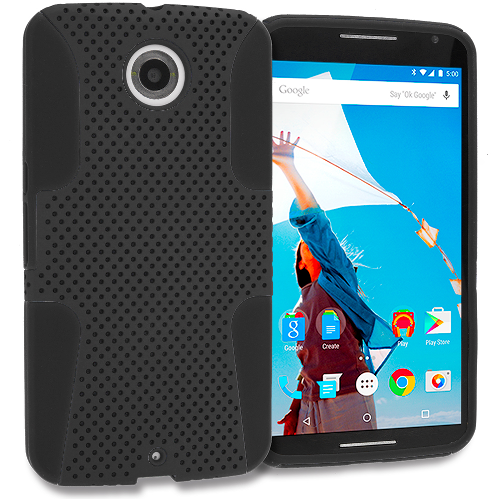 Motorola Google Nexus 6 Black / Black Hybrid Mesh Hard/Soft Case Cover