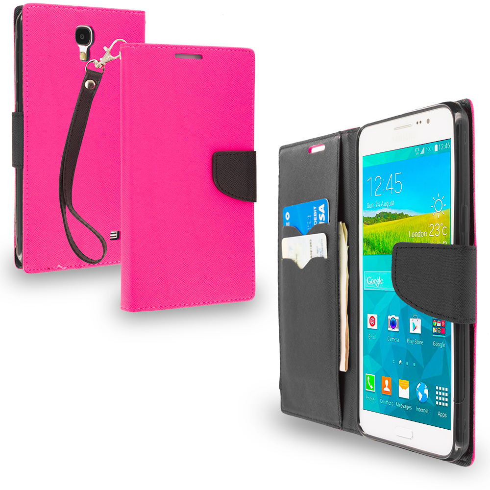 Samsung Galaxy Mega 2 Hot Pink / Black Leather Flip Wallet Pouch TPU Case Cover with ID Card Slots