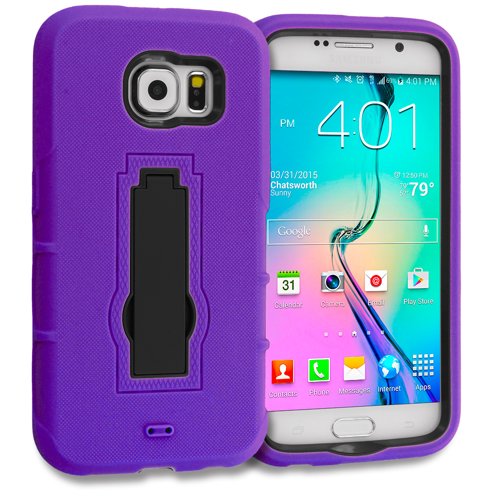 Samsung Galaxy S6 2 in 1 Combo Bundle Pack - Hybrid Heavy Duty Hard Soft Case Cover with Kickstand : Color Purple / Black