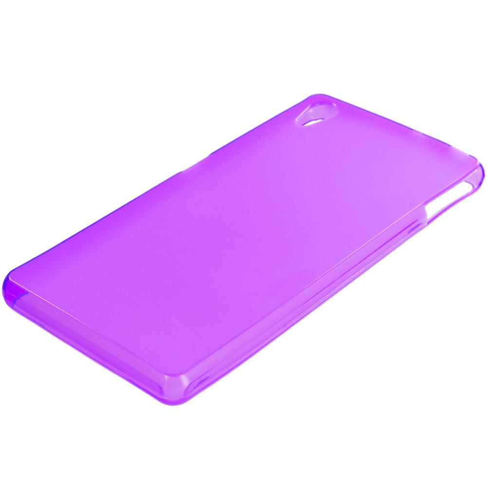 Sony Xperia Z3v Verizon Purple TPU Rubber Skin Case Cover