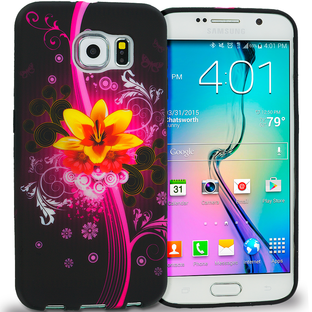 Samsung Galaxy S6 Pink Flower Explosion TPU Design Soft Rubber Case Cover
