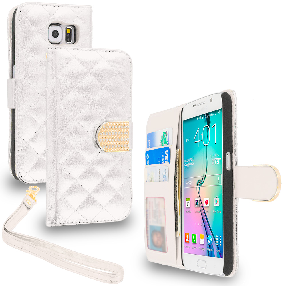 Samsung Galaxy S6 Combo Pack : Black Luxury Wallet Diamond Design Case Cover With Slots : Color White