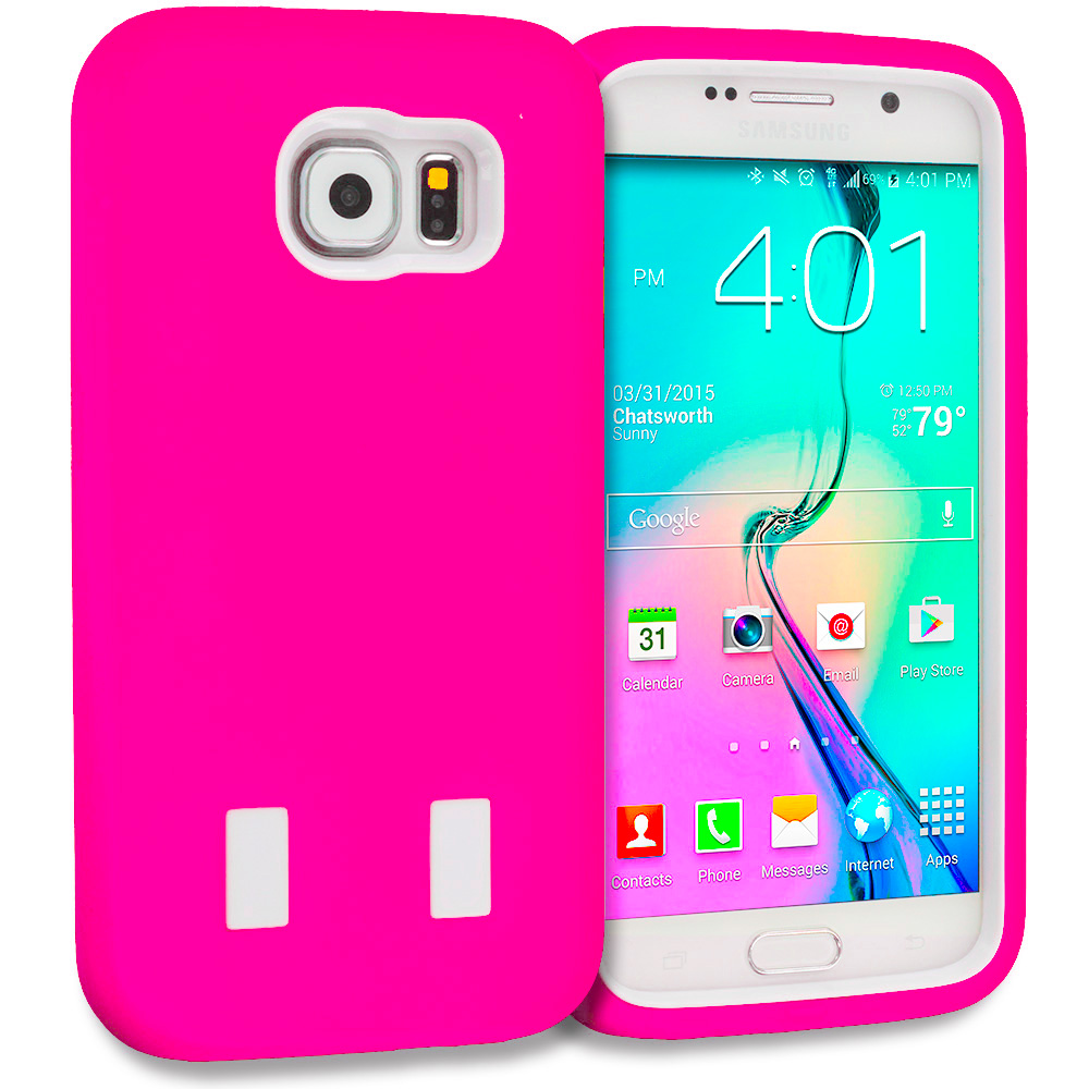 Samsung Galaxy S6 Combo Pack : Blue / White Hybrid Deluxe Hard/Soft Case Cover : Color Hot Pink / White