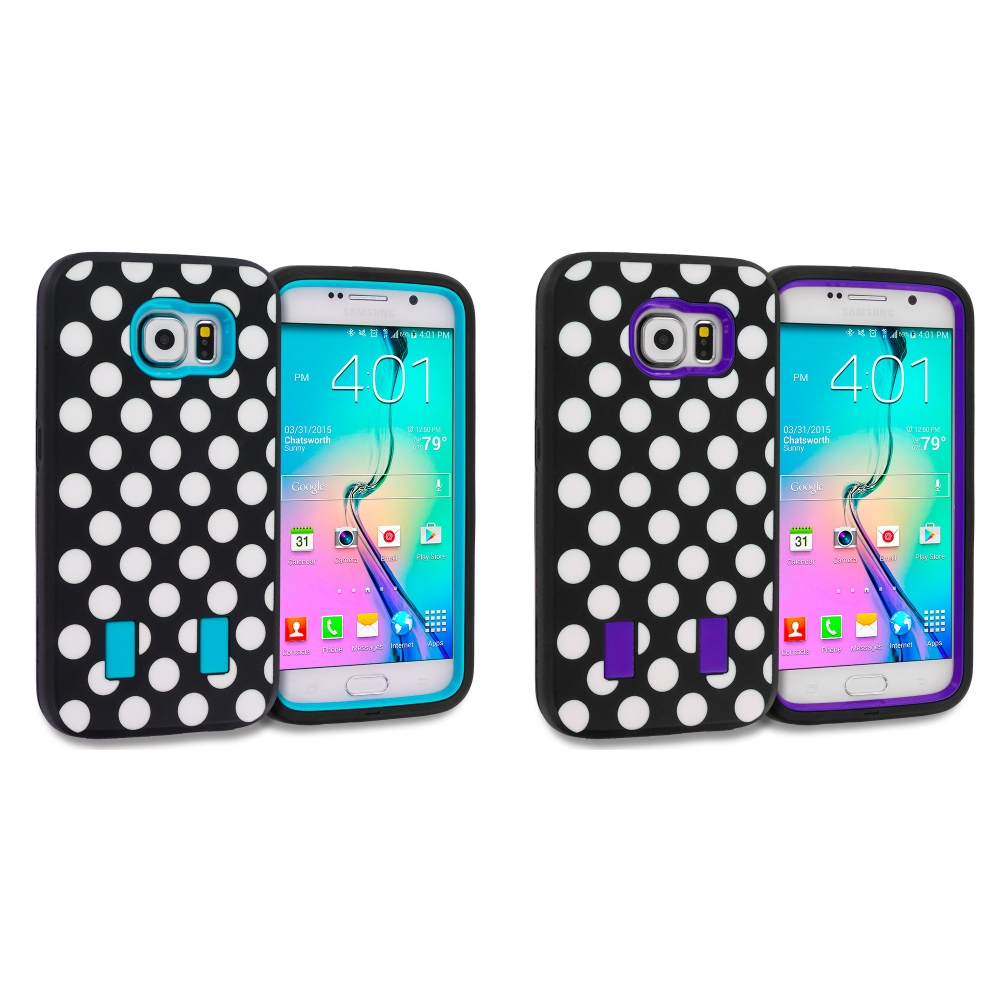 Samsung Galaxy S6 Combo Pack : Polka Dot Baby Blue Hybrid Deluxe Hard/Soft Case Cover