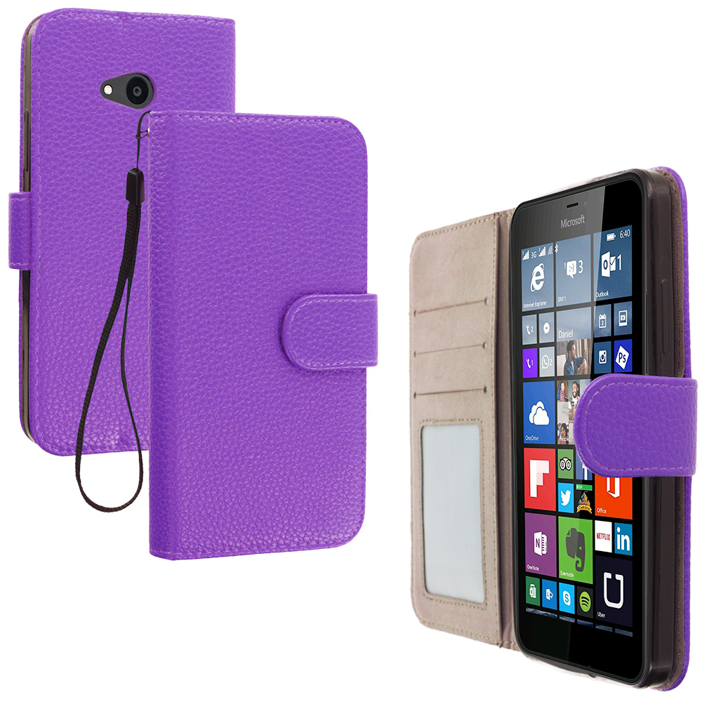 Microsoft Lumia 640 2 in 1 Combo Bundle Pack - Hot Pink Purple Leather Wallet Pouch Case Cover with Slots : Color Purple