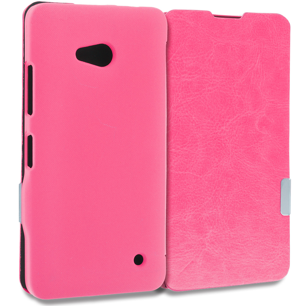 Microsoft Lumia 640 2 in 1 Combo Bundle Pack - White Pink Magnetic Flip Wallet Case Cover Pouch : Color Hot Pink