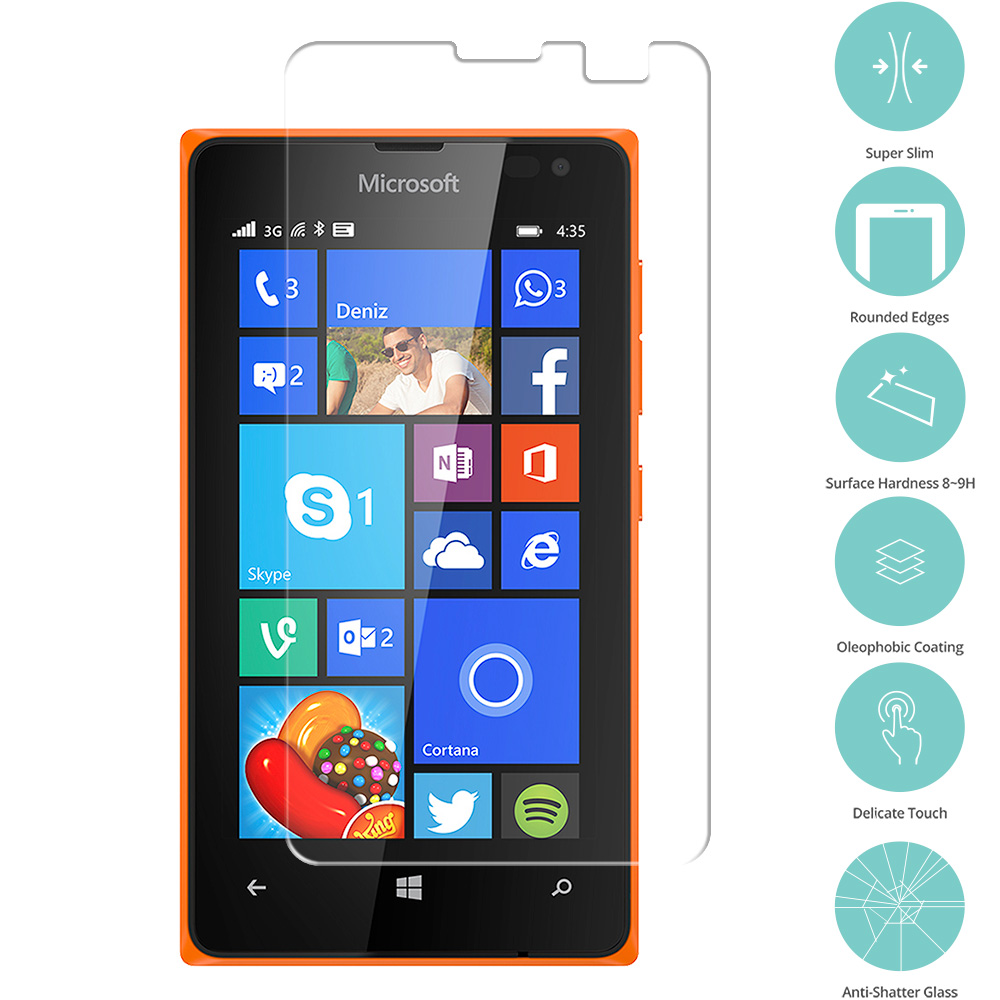 Nokia Microsoft Lumia 435 Clear Tempered Glass Film Screen Protector Clear