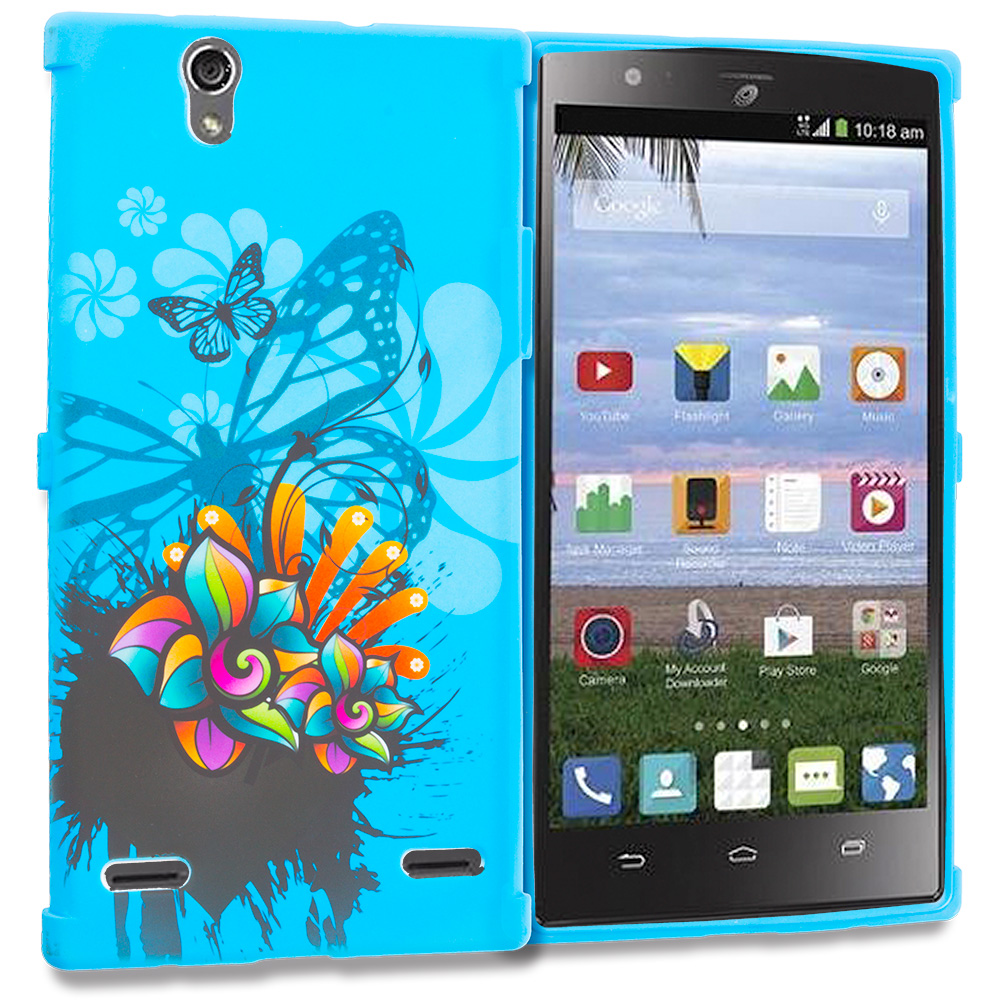 ZTE Lever Z936 Blue Butterfly Flower TPU Design Soft Rubber Case Cover