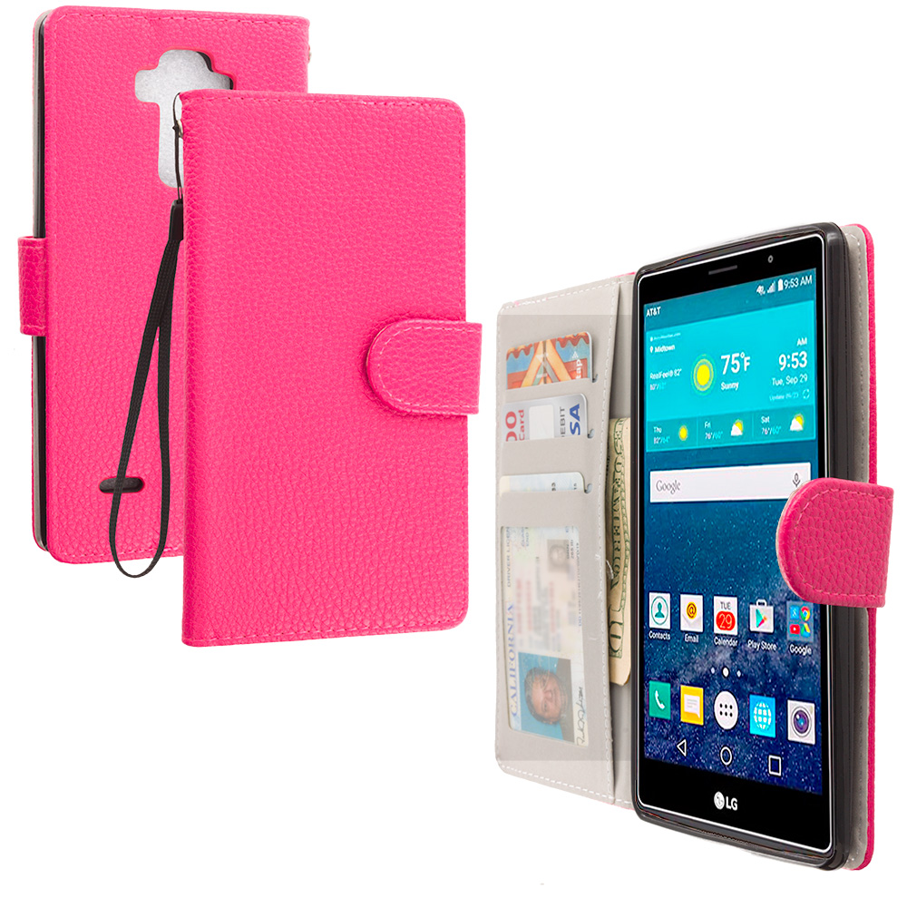 LG G Vista 2 Hot Pink Leather Wallet Pouch Case Cover with Slots
