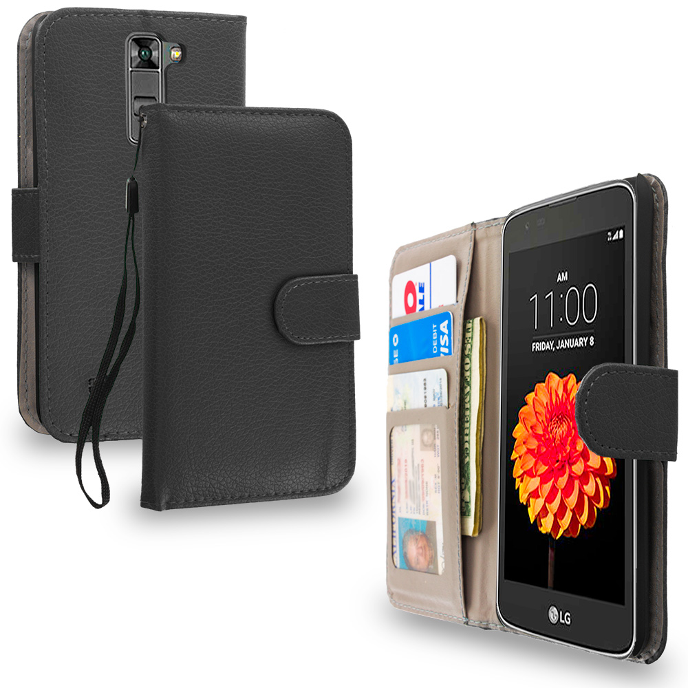 LG Tribute 5 K7 Phoenix 2 Escape 3 Treasure Black Leather Wallet Pouch Case Cover with Slots
