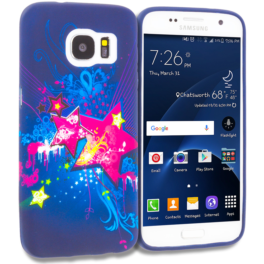 Samsung Galaxy S7 Pink Blue Star TPU Design Soft Rubber Case Cover