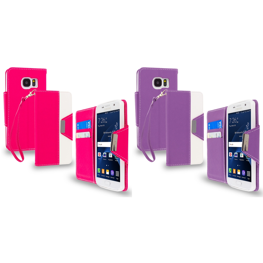 Samsung Galaxy S7 Combo Pack : Hot Pink Wallet Magnetic Metal Flap Case Cover With Card Slots