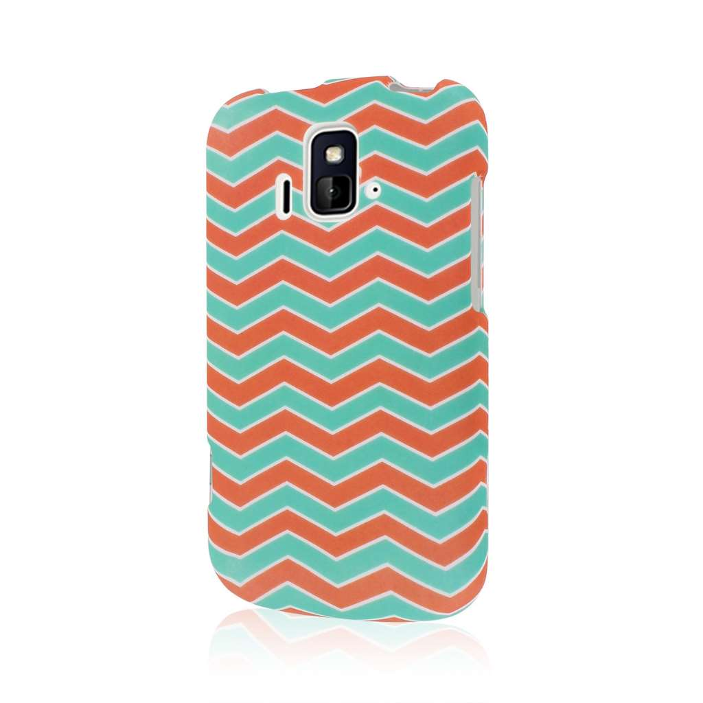 ZTE Radiant/ Sonata 4G - Mint Chevron MPERO SNAPZ - Rubberized Case Cover