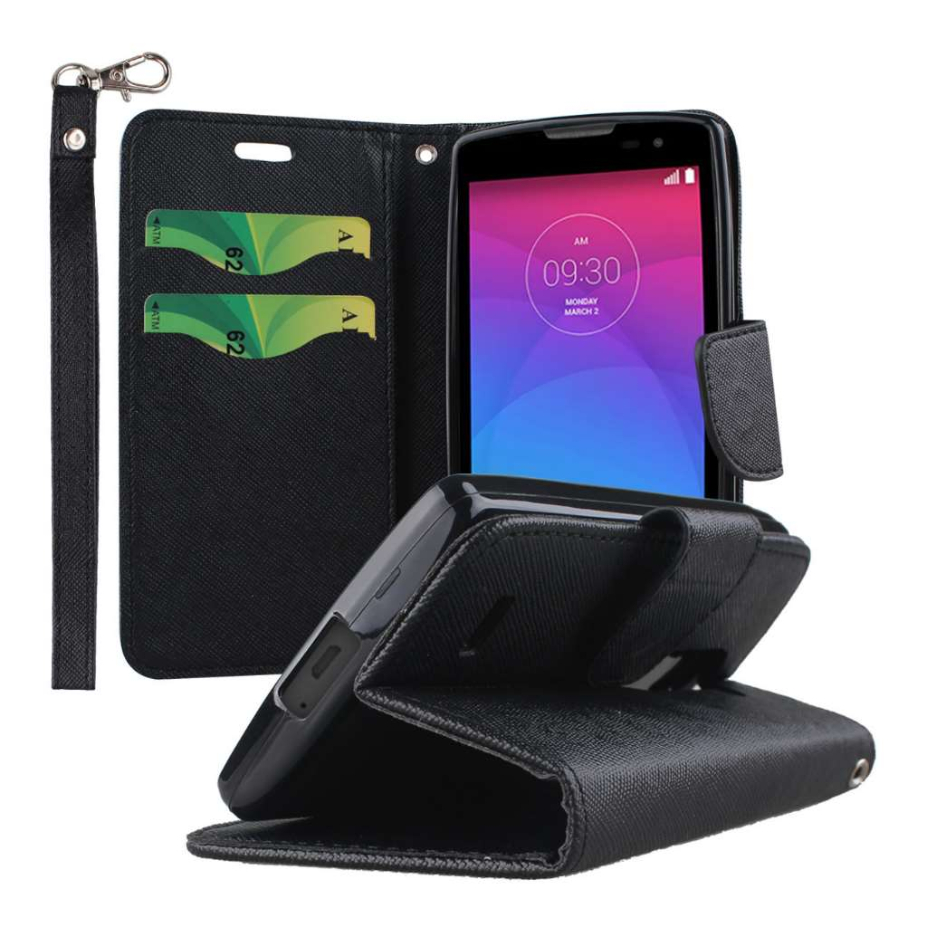 LG Leon / Tribute 2 - Black MPERO FLEX FLIP 2 Wallet Stand Case Cover